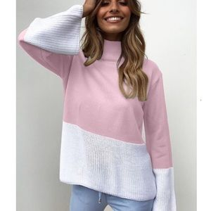 Sweaters - 🌸 Pink & White long sleeve turtleneck sweater top